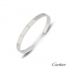 Cartier White Gold Plain Love Cuff Bracelet Size 17 B6032517